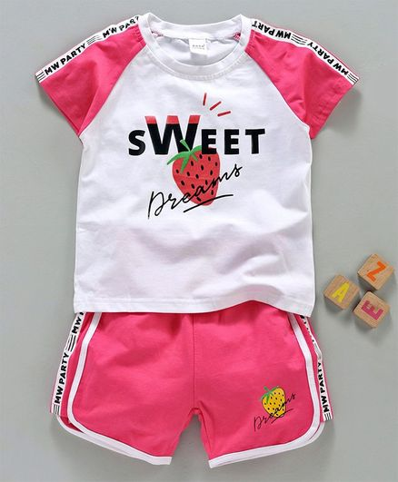 Meng Wa Half Sleeves Tee & Shorts Sweet Print - White Pink