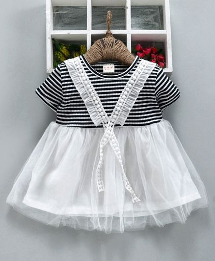 6d97650c67 Buy Kookie Kids Half Sleeves Striped Net Frock White & Black for Girls (3-6  Months) Online in India, Shop at FirstCry.com - 2779481