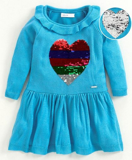 Babyoye Full Sleeves Frock Style Sweater Sequin Sequin Heart Embellished - Light Blue