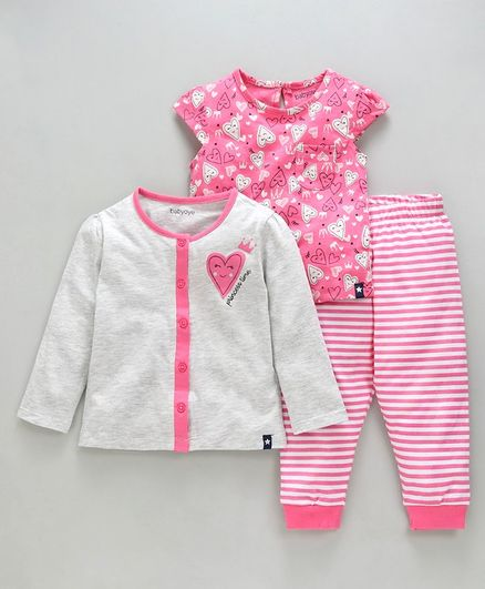 Babyoye Cotton Full & Cap Sleeves Night Suit Heart Print - Pink