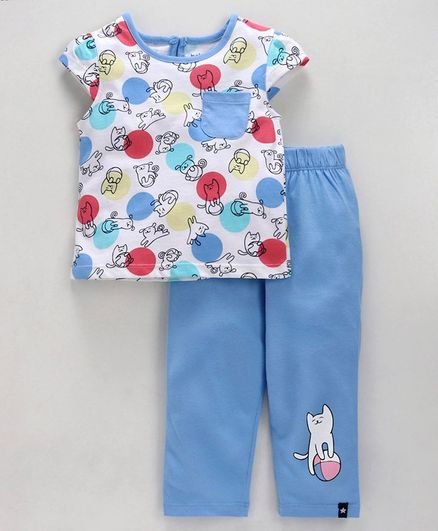 Babyoye Short Sleeves Night Suit Kitty Print - Blue