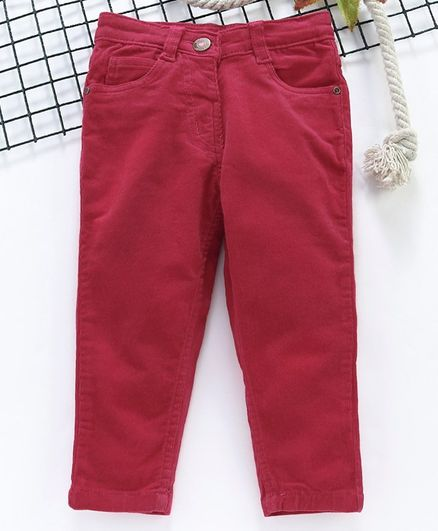 Babyhug Full Length Corduroy Pants - Dark Pink