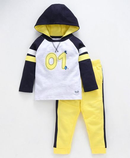 Babyoye Hooded Tee With Lounge Pants Number Print - Grey Yellow