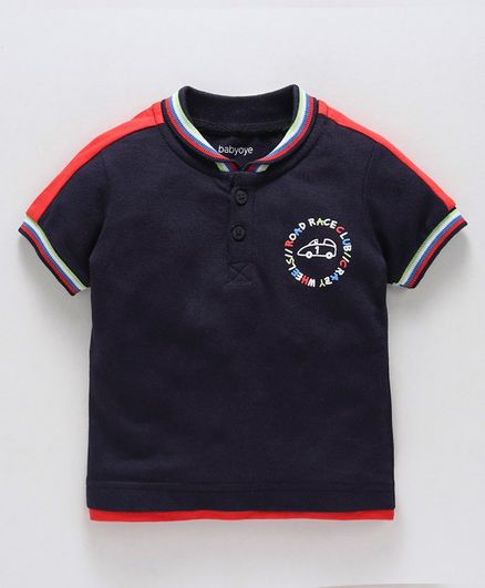 Babyoye Half Sleeves Polo T-Shirt Car Print - Navy Blue