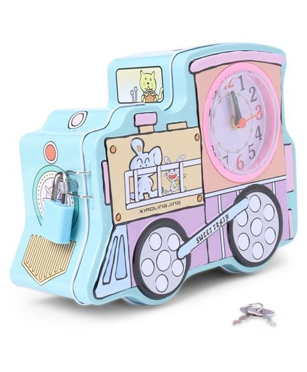 Train Shaped Money Bank With Clock - Blue