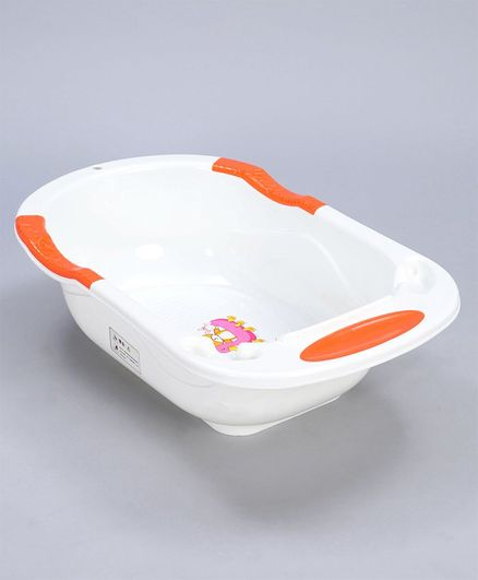 Baby Bath Tub With Detachable Bather - White & Orange