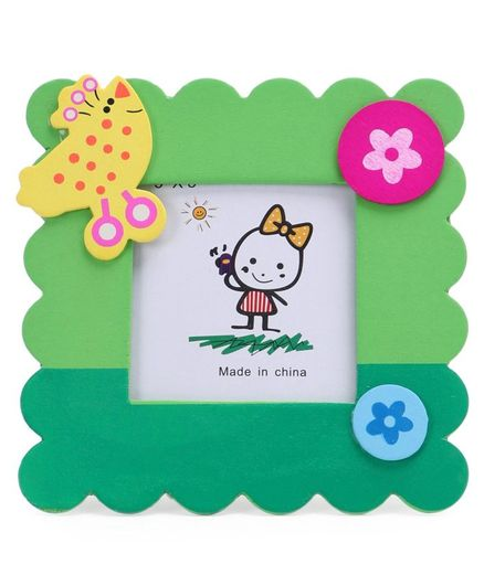 Table Top Square Photo Frame Flower Design - Green