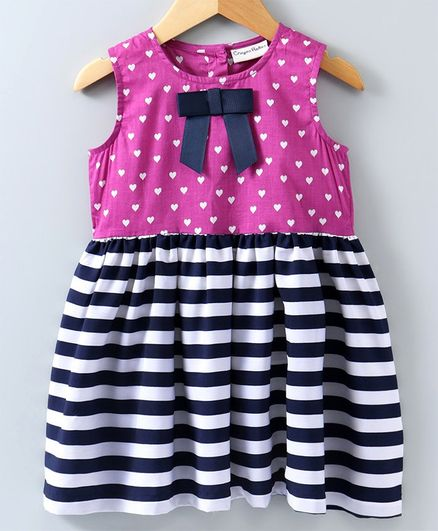 8bc0a5ea9865d Buy Crayonflakes Heart Print Sleeveless Dress Purple & Blue for Girls (3-4  Years) Online in India, Shop at FirstCry.com - 2786996
