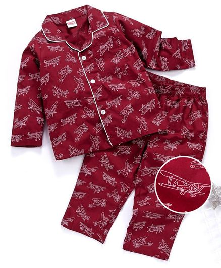 Babyhug Full Sleeves Woven Cotton Night Suit Plane Print - Maroon