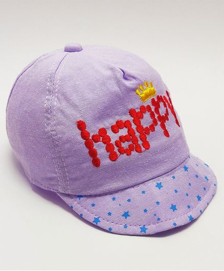 1eba9351b KidOWorld Happy Embroidery Cap Purple Online in India, Buy at Best Price  from Firstcry.com - 2789424
