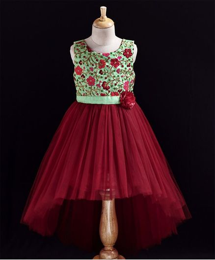 Toy Balloon Sleeveless Flower Embroidered Fit & Flare Dress - Maroon