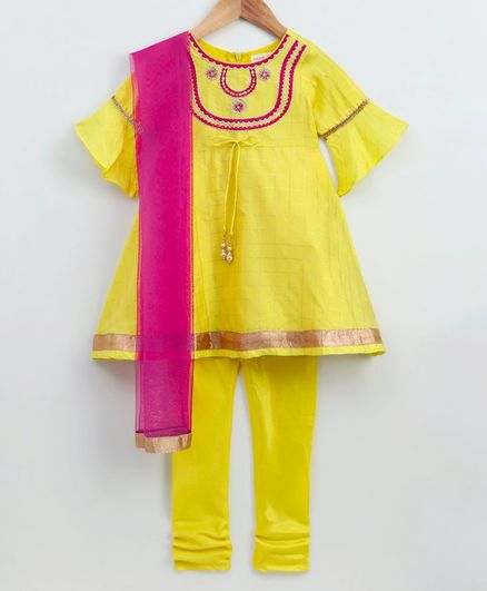 Babyoye Half Sleeves Cotton Kurti With Churidar & Dupatta - Yellow
