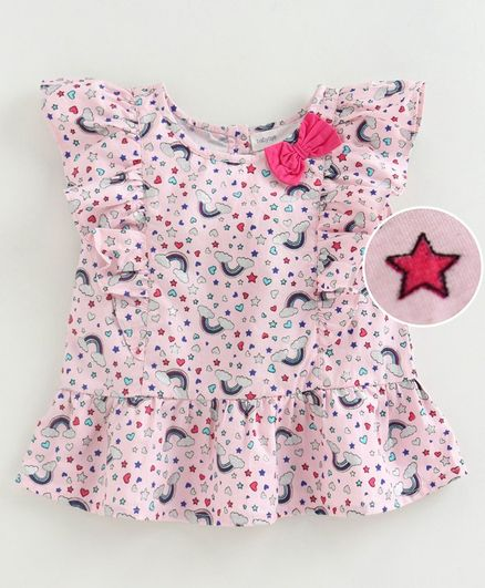 Babyoye Cap Sleeves Ruffled Top Magic Unicorn Bow Print - Pink