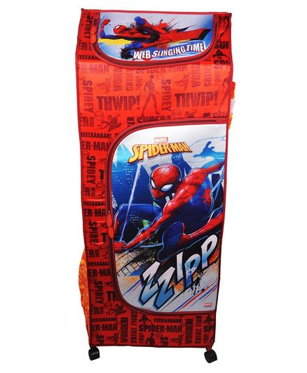Avengers Storage Unit With Wheels Spider Man Print - Red