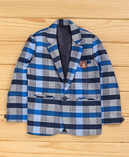 Dapper Dudes Checked Lapel Collar Full Sleeves Blazer - Blue