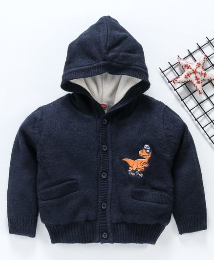Babyhug Full Sleeves Hooded Sweater Dino Embroidery - Navy Blue
