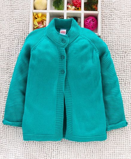 Babyhug Full Sleeves Front Open Sweater - Sea Green