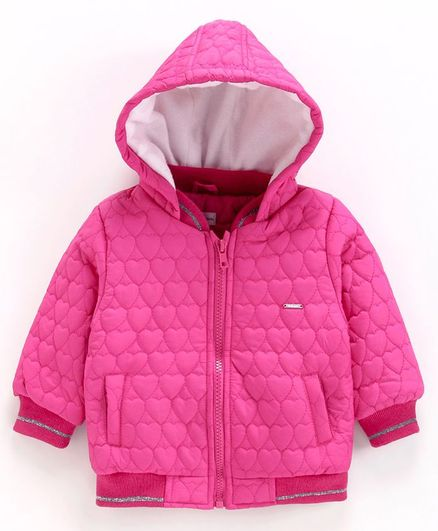 Babyoye Full Sleeves Cotton Poly Quilted Hooded Jacket - Pink