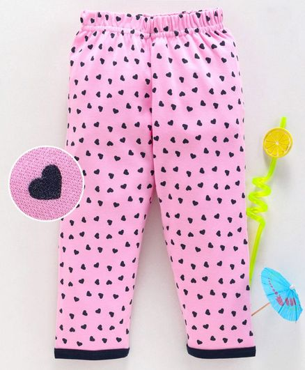 Babyhug Elastic Waist Full Length Lounge Pants Heart Print - Pink