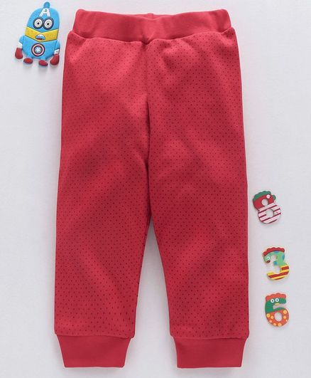 Babyhug Ankle Length Polka Dot Print Lounge Pant - Red