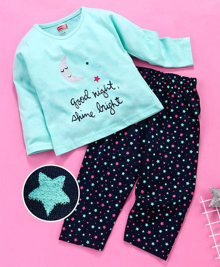 Babyhug Full Sleeves Night Wear Moon & Star Print - Sea Green Navy Blue