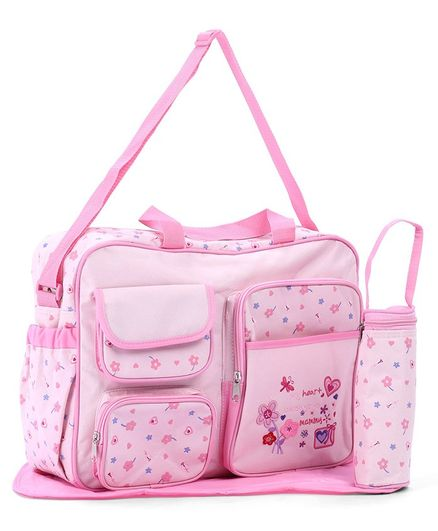 Diaper Bag With Changing Mat And Bottle Cover Bear Embroidery - Pink