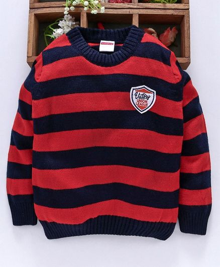 Babyhug Full Sleeves Striped Sweater - Navy Red