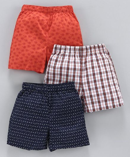 Babyhug Cotton Woven Boxer Set of 3 Printed & Checked - Mutlicolor