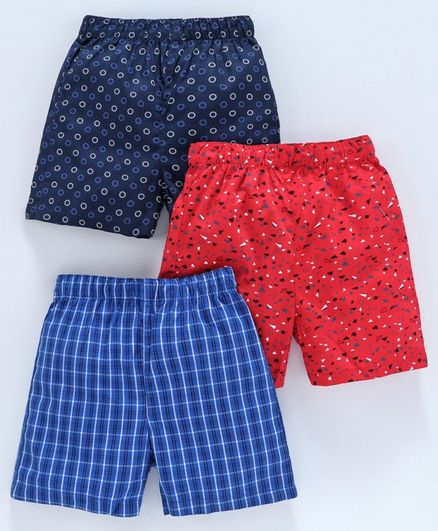 Babyhug Cotton Woven Printed Boxer Set of 3 - Blue Red