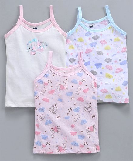 Simply Singlet Slips Pack of 3 Bunny & Cloud Print - White Pink