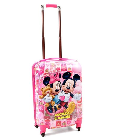 Disney Mickey Mouse & Friends Luggage Trolley Bag Pink - 20 Inches