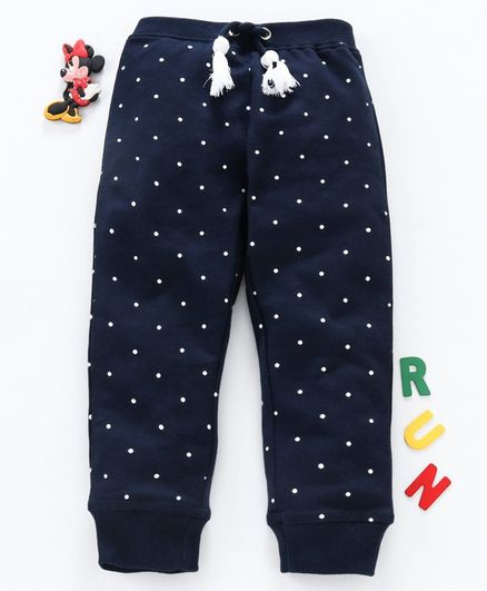Babyhug Full Length Lounge Pant Polka Dot Print - Blue