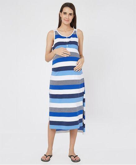 616afa1f56bb0 Mystere Paris Striped Sleeveless Maternity Dress Blue Online in India ...