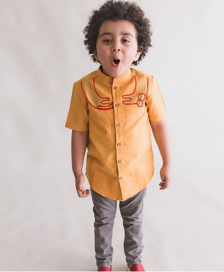 6c9f7c69ffb9 Buy Tiber Taber Half Sleeves Embroidered Shirt Yellow for Boys (4-5 ...