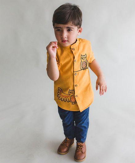 4b992eb7b79d Buy Tiber Taber Half Sleeves Owl Embroidered Shirt Yellow for Boys ...