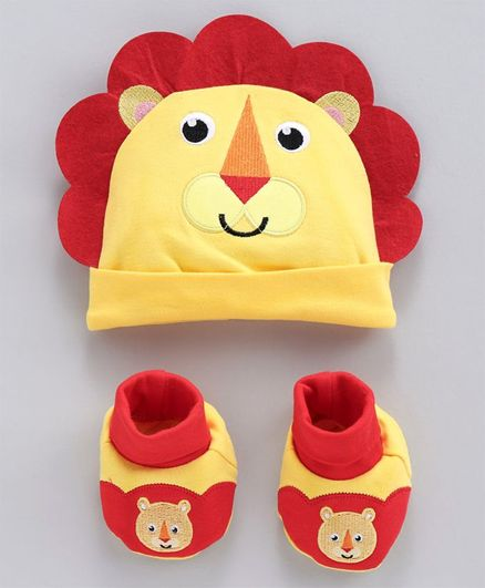 Fisher Price Cap and Booties Gift Set Lion Print - Yellow