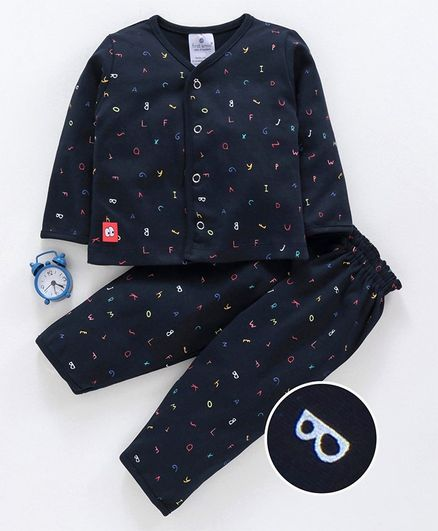 First Smile Full Sleeves Night Suit Alphabet Print - Navy Blue