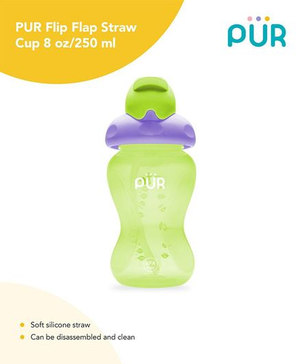 Pur Flip Flap Straw Cup Green 250 ml Online in India, Buy at Best Price  from Firstcry com - 2810434