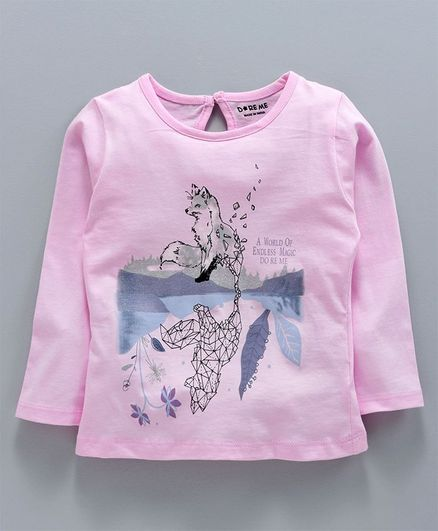 Doreme Full Sleeves Top Reflection Print - Light Pink