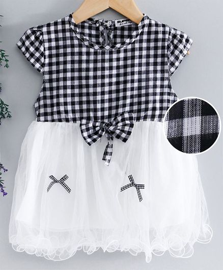 Superfie Cap Sleeves Checked Tulle Flare Lettuce Trim Dress - Black