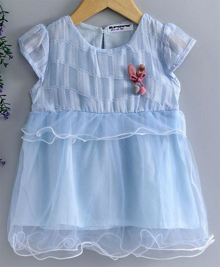 Superfie Cap Sleeves Self Design Dress - Sky Blue