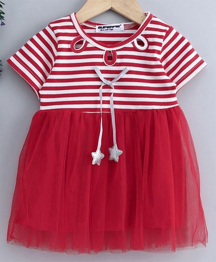 Superfie Stripes Half Sleeves Dress - Red