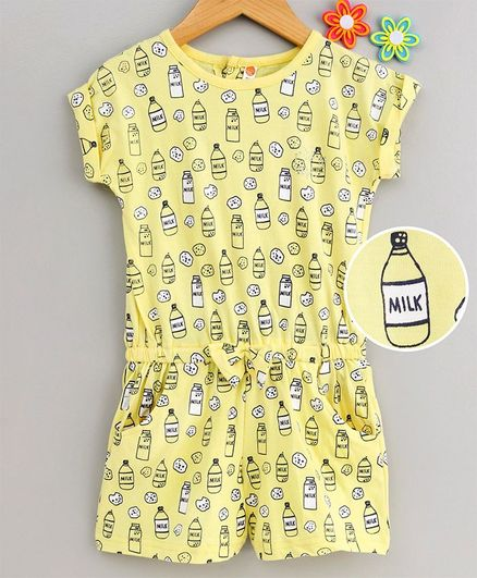 Dew Drops Short Sleeves Jumpsuit Milk & Cookies Print - Yellow