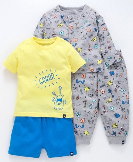 Babyoye Full & Half Sleeves Cotton Night Wear Pack of 4 - Grey Yellow Blue