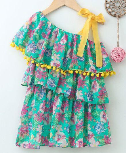a57f602b8e Soul Fairy Half Sleeves Flower Print One Shoulder Dress - Sea Green