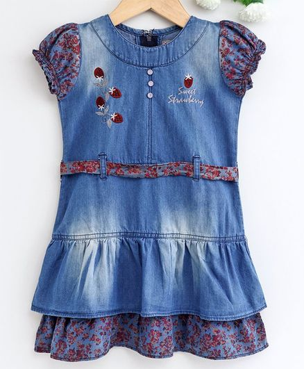 Enfance Core Strawberry Embroidered Short Sleeves Dress - Blue