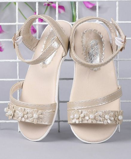 Cute Walk by Babyhug Party Wear Sandals Floral Motif - Beige
