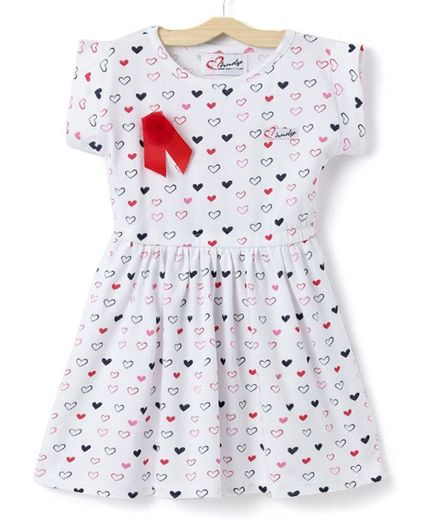 ae68c9f898c01 Buy Mandy Heart Print Short Sleeves Dress White for Girls (7-8 Years)  Online in India, Shop at FirstCry.com - 2820841