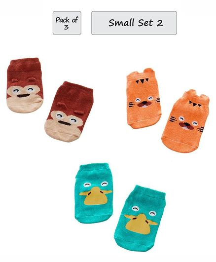 Syga Animal Design Anti Slip Ankle Length Socks Pack of 3 Pairs - Brown Orange Blue