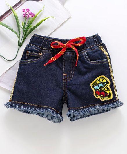 9bdf480398 Buy Kiddopanti Denim Shorts With Bus Patch Blue for Girls (8-10 ...